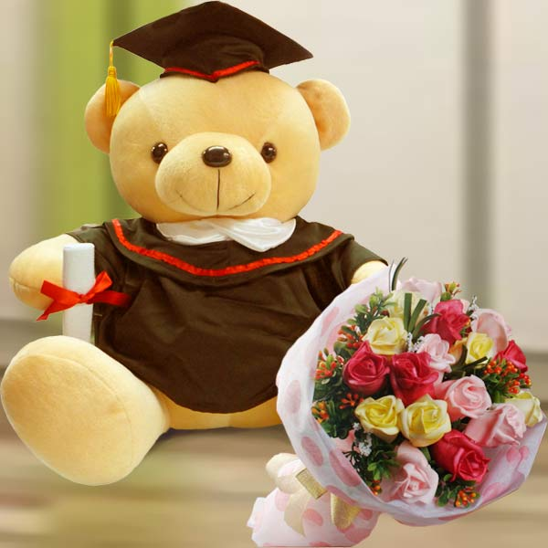 Bear & Flower : SF Graduation Bear & Flower GR022