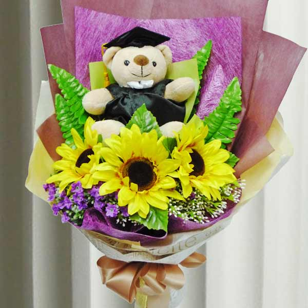 Bear & Flower : SF Graduation Bear & Flower GR028